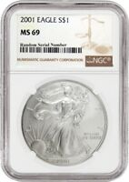 2001 1 oz American Silver Eagle Coin NGC MS69 .999 Pure Brilliant Uncirculated