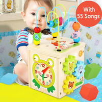 5 in 1 Wooden Baby Educational Counting Bead Maze Toys Gift for Kid with Music