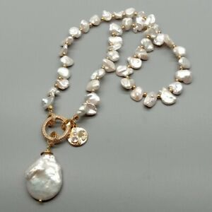"""Freshwater Cultured White Keshi Pearl Necklace Coin Pearl Charm 18"""""""