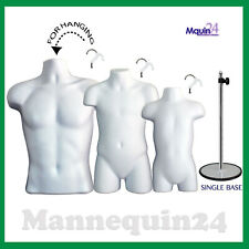 3 White Mannequins Male Child Toddler Torso Dress Forms Set + 3 Hangers +1 Stand