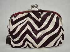 Coach Kisslock Cosmetic Bag Pouch Brown Zebra Stripe Wallet