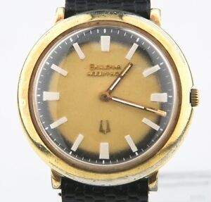 1974 Bulova Accutron Men's Gold-Plated Tuning Fork Mvmt 2110 Watch Original Band