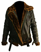 Mens RAF Bomber Aviator Leather Jacket Sheep Skin Brown Genuine Pilot Flying