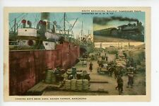 Loading Soy to Steamer DAIREN Manchuria CHINA Antique Chinese Dalian 大连市 Train