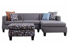 Modern Small Linen Fabric Reversible Sectional