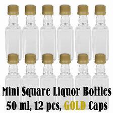 SQUARE Mini Liquor Bottles Shots + GOLD Caps (Tamper Evident) -12 50 ml Plastic