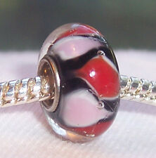 Black Pink Red Murano Glass Single Core Bead for Silver European Charm Bracelet
