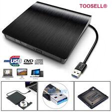 Black Slim External USB 3.0 DVD RW CD Writer Drive Burner Reader Player for PC