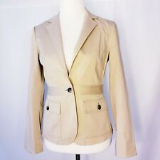 c23dde78b4e Theory Women's Sz 6 Safari Blazer Jacket Single Button Cotton Blend Beige  Career