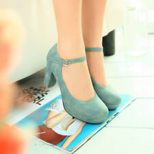 Ladies High Block Heel Ankle Strap Buckle Platform Mary Janes Pumps Grace Shoes