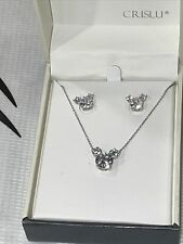 Disney Parks Crislu Mickey Necklace & Earrings Sterling Platinum Gorgeous! Rare!