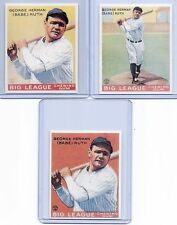 BABE RUTH 1933 GOUDEY ROOKIE CARD REPRINT LOT/SET! #53, #144 & #149! YANKEES!