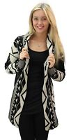 Ladies Womens Open Front Long Sleeve Chunky Knitted Aztec Cardigan Top