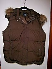 GAP VERY CUTE  BROWN HOODED DOWN LINED VEST SIZE MED