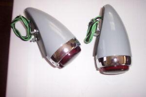 1939 Chevy tail lights, one pair, primer housing, glass lenses.