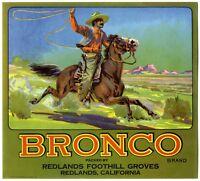 Bronco Cowboy 1920s Redlands Ca Orange Citrus Fruit Crate label Art print