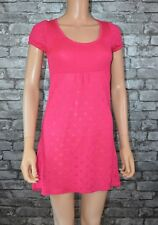 Women's Pink Fine knitted Short Sleeved Round Neck Fitted Dress Size 8  - Eu 36