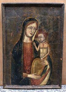 Tableau Ancien Peinture Icône Russe Religieuse Portrait Vierge à L'enfant XVIIIe