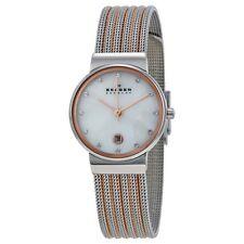 Skagen Women's 355SSRS Mother of Pearl Dial Two Tone Mesh Bracelet Quartz Watch