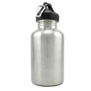 2L LARGE Stainless Steel Wide Mouth Water Drink Bottle Cycling Sports Carabiner
