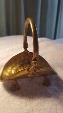 Vintage Miniature Hammered Brass Fireplace Log Holder Basket Carrier India