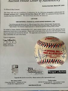 1999 NATIONAL LEAGUE ALL-STAR TEAM SIGNED AUTOGRAPHED BASEBALL JSA auth