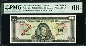1966 Costa Rica, Banco Central 100 Colones PMG 66 Gem Unc EPQ ND P234s Specimen