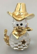 Crystal Sheriff Gold Cowboy Hat Mustache Scarf Badge Gun Figurine 1 3/8 inches
