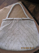 Vintage Beautiful Silver Bead Art Deco Box Style Purse with Mirror in Clasp!
