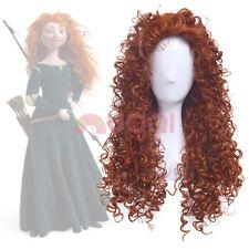 Disney Pixar Animated movie of Brave MERIDA cosplay Long curly orange wig