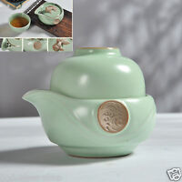 portable tea set porcelain tea pot with infuser gold fish statue on lid tea cups