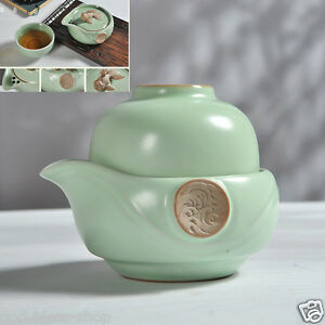 portable tea set porcelain tea pot with infuser gold fish statue on lid tea cups