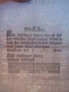 1848 SWEDEN 8 SCHILLINGAR BANCO P. A100
