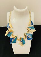 80s Style Gold Tone / Blue Enamel Costume Jewellery Necklace Power Dressing