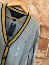 Tommy Hilfiger Mens V Neck Cardigan Sweater Gray Nave Yellow L Large -New