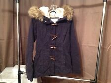 Abercrombie & Fitch New York Parka Jacket navy blue With Faux Fur Hood