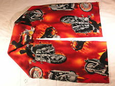 Motorcycles on Red with Flames Fleece Scarf Xtra Wide Bikers Love This!