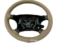 FOR DAEWOO MUSSO 1993-2005 REAL BEIGE ITALIAN LEATHER STEERING WHEEL COVER NEW