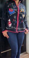 UGLY TACKY Designers Originals Studio Womens Christmas SWEATER Cardigan Size L