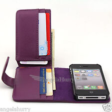 Purple Premium Full Size Pocket Flip Leather Case Cover For Apple iPhone 4GS 4G