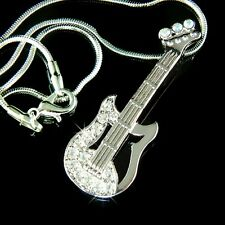 NEW w Swarovski Crystal Rock Music Musical ELECTRIC GUITAR Pendant Necklace Xmas