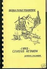 1993 Ozinga Favily Cousins Reunion Cookbook-Denver CO-Cooking-Recipes-Names