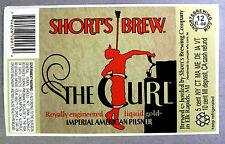 Short's Brew THE CURL - IMPERIAL AMERICAN PILSNER beer label MI 12oz STICKER