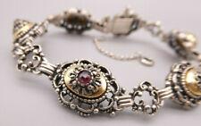 Wunderbar gehaltenes altes Armband Silber tlw. verg. Blumen Tracht mit GRANAT