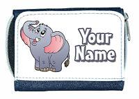 CUTE ELEPHANT PERSONALISED LADIES / GIRLS DENIM PURSE-GREAT NAMED GIFT/PRESENT