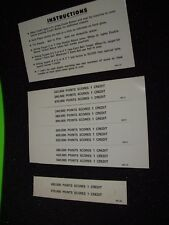 AZTEC Pinball Machine Instruction Card 2-Sided WILLIAMS 1976 + NOS Score Cards
