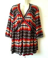 WOMEN'S COCOMO MULTICOLOR PRINT 3/4 SLEEVE V-NECK STRETCHY TOP SIZE 2X