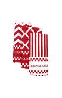 MacKenzie-Childs Red & White Zig Zag Dish Towels - Set of 3