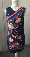 Oasis Navy & Orange Flower & Butterfly Print Dress Size 10