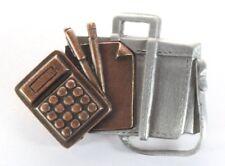 Pencil Paper - Copper & Silver Tone Brooch Pin - Office Calculator Briefcase Pen